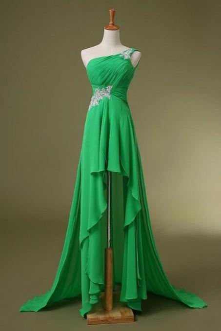 One Shoulder Long Chiffon Prom Dresses Crystals Beaded Pleat Floor length Party Dresses