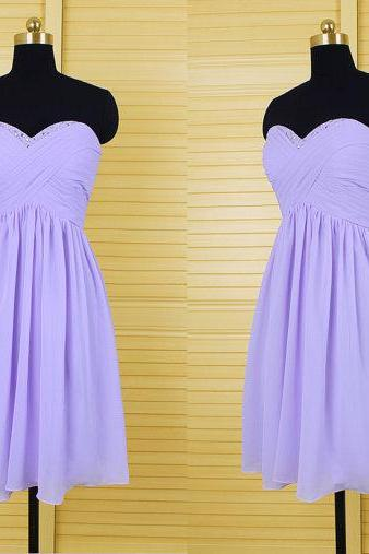 Women's Short Chiffon Purple Homecoming Dresses Pleat Party Dresses