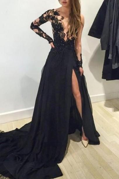 Sexy Long Chiffon Prom Dress Lace Appliques Floor Length Party Dresses