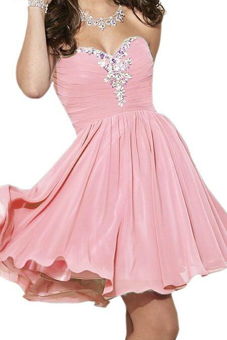Sweetheart Neck Short Chiffon Pink Homecoming Dresses Above Knee Mini Beaded Party Dress