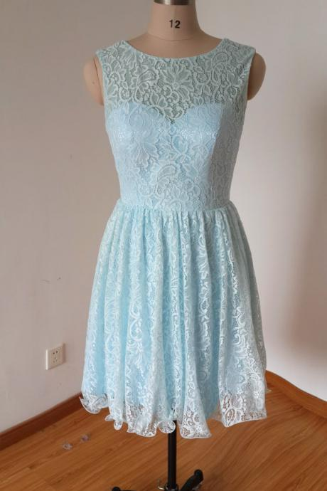 Short Lace blue Homecoming Dresses Scoop neck women party dress