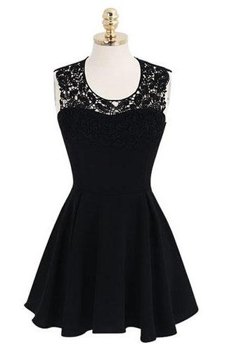 Short Chiffon Black Homecoming Dresses Lace Party Dresses
