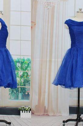 Short Blue Tulle Homecoming Dresses Pleat Lovely Party Dresses