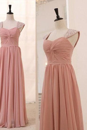 Cap Sleeve Long Chiffon Pink Prom Dresses Crystal Floor Length Party Dresses Beaded Party Dresses