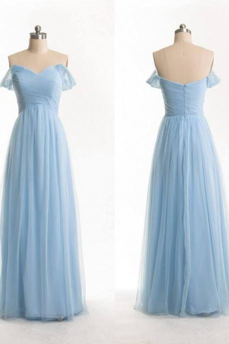 Long Chiffon Evening Dresses Pleat Floor Length Party Dresses Off the Shoulder Formal Dresses