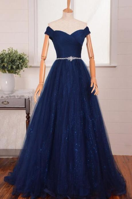 Off the Shoulder A-line Tulle Prom Dresses Floor Length Navy Blue Party Dresses