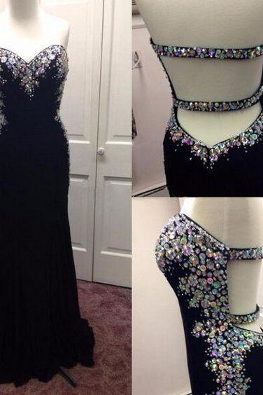 Mermaid Chiffon Prom Dresses Sweetheart Neck Crystals Party Dresses Floor Length Women Dresses