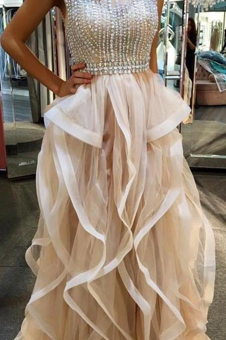 Charming Ruffle Tulle Prom Dresses Scoop Neck Cap Sleeves Beading Crystal Party Dresses