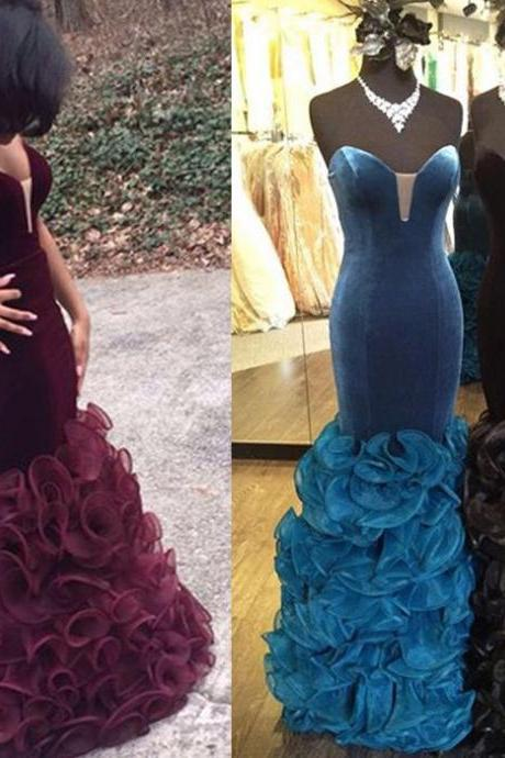 Mermaid Ruffle Tulle Prom Dresses Sweetheart Neck Floor Length Party Dresses