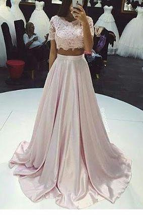 Short Sleeves Long Satin Prom Dresses 2 Pieces Floor Length Party Dresses With Lace Appliques