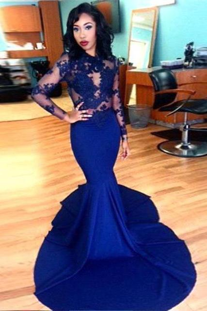 Royal Blue Mermaid Chiffon Prom Dresses Long Sleeves Appliques Lace Party Dresses Floor Length Dresses