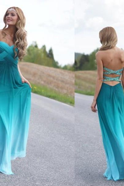 Strapless A-Line Sweetheart Chiffon Bridesmaids Dresses