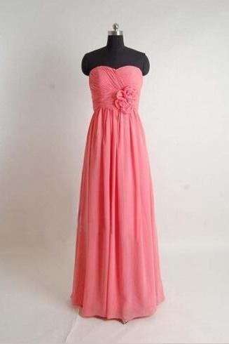 Strapless Long Chiffon Bridesmaid Dresses Floor Length Pleat Party Dresses