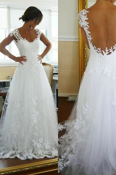 White Tulle Simple Bridal Dresses Sexy Hollow Back Floor Length Wedding Dresses