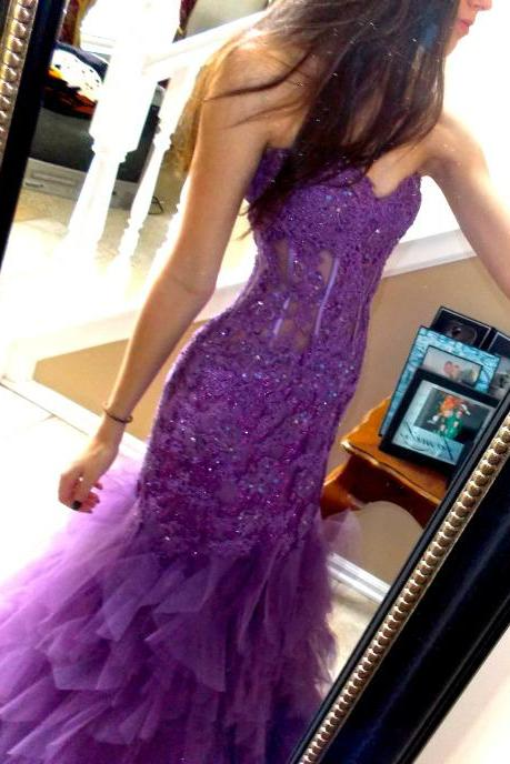 Long Mermaid Tulle Prom Dresses Sweetheart Neck Lace Appliques Floor Length Party Dresses
