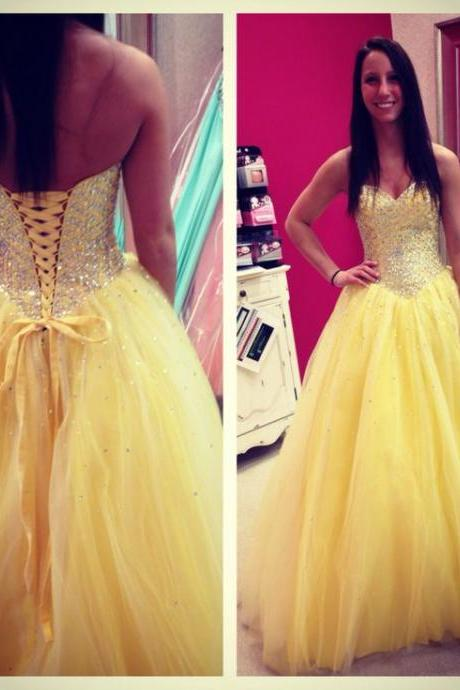 Sweetheart Neck Yellow tulle Prom Dresses Strapless Beaded Party Dresses Floor Length Women Dresses