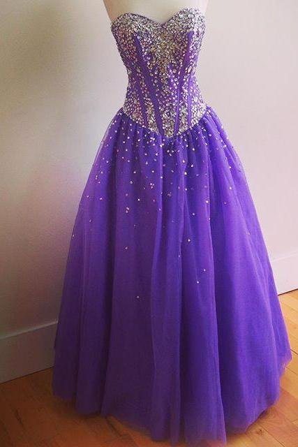 Sweetheart Neck Long Tulle Satin Prom Dresses Crystals Beaded Floor Length party Dresses