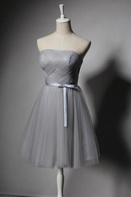 Strapless Short Tulle Grey Homecoming Dresses Mini Party Dresses Custom Made Mini Women Dresses
