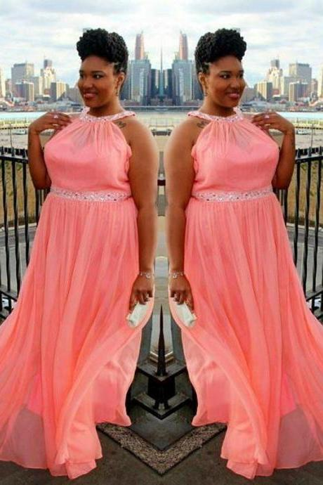 Plus size Halter Neck Long Chiffon Prom Dresses Crystals Beaded Party Dresses Floor Length Women Dresses