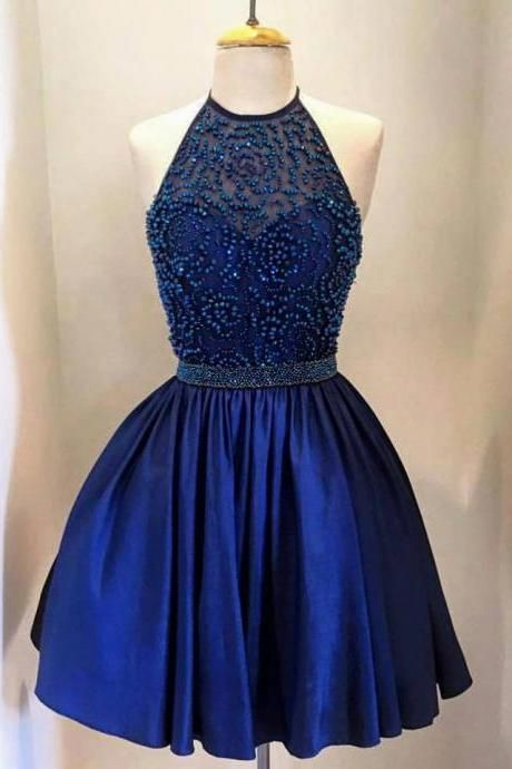 Halter Neck Short Satin Blue Homecoming Dresses with Beading Mini Party Dresses