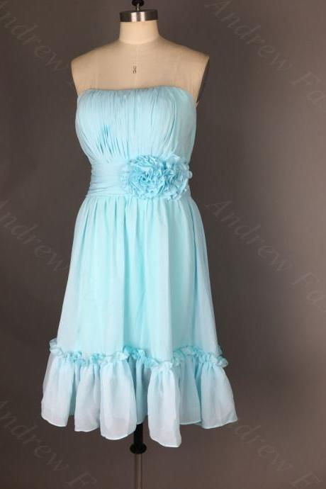 Strapless A-line Chiffon party Dresses Pleat Knee Length Homecoming Dresses