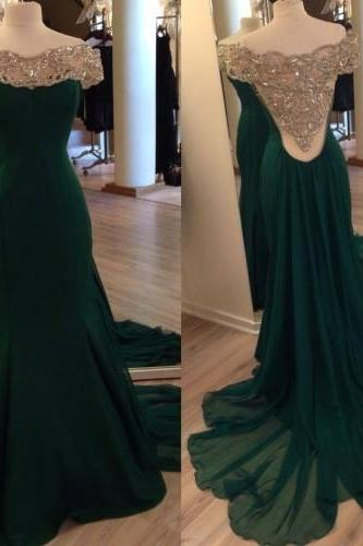 Off the Shoulder Mermaid Chiffon Evening Gowns Long Sleeves Floor Length party Dresses Custom Made Women Dresses