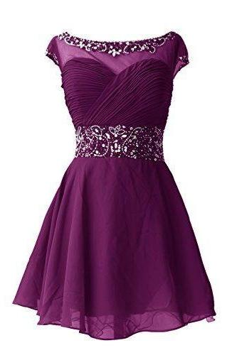 Scoop neck Short chiffon Homecoming Dresses with crystals Custom Made Women Dresses