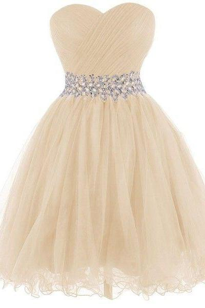 Short Tulle Homecoming Dresses 2016 Sweetheart Neck Crystals Pleat Party Dresses Custom Made