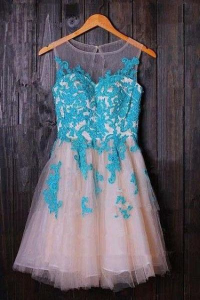 Short Tulle Homecoming Dresses 2016 Scoop Neck Lace Appliques Party Dresses Custom Made Women Dresses
