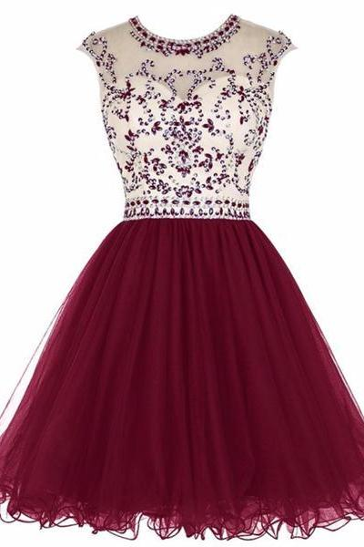 Scoop Neck Short Tulle Homecoming Dresses 2016 Crystals Party Dresses Mini Women Dresses
