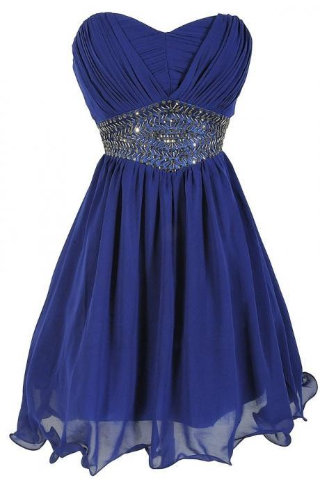 Sweetheart Neck Short Chiffon Homecoming Dresses With Crystals Beaded Mini party Dresses Custom Made 2016
