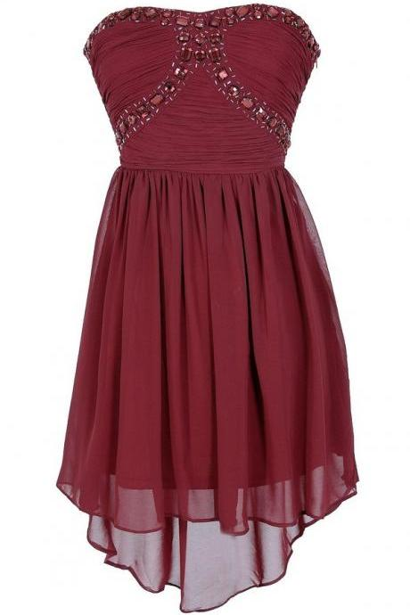Sweetheart Neck Short Chiffon Homecoming Dresses With Crystals Beaded Mini party Dresses