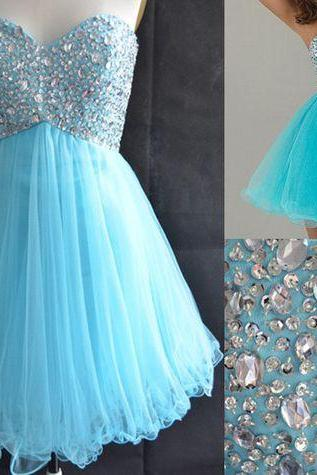 Sweetheart Neck Short Tulle Homecoming Dresses Crystal Beaded Party Dresses Custom Made