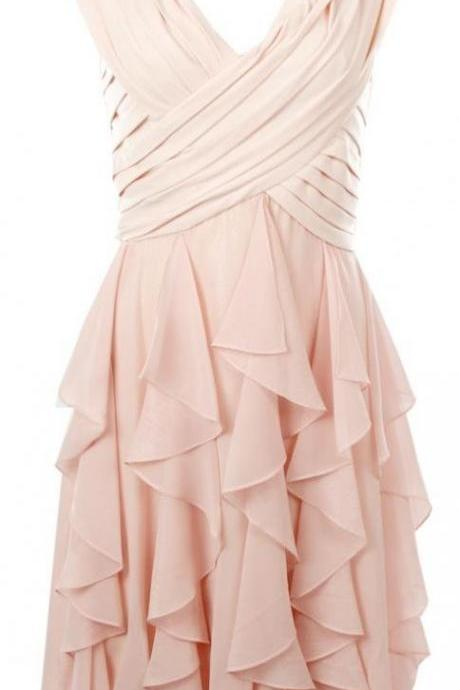 Plunge V Ruched Chiffon Short Homecoming Dress with Ruffle Detailing - Party Dress, Homecoming Dress