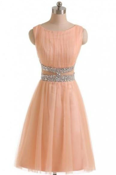 Knee Length Tulle Homecoming Dresses Scoop Neck Crystals Women Party Dresses
