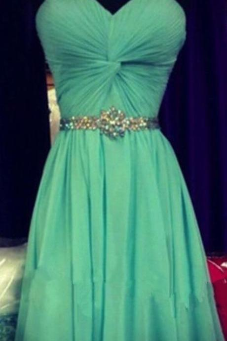 Green Chiffon Homecoming Dresses with Crystal Belt in Sweetheart Neck Style