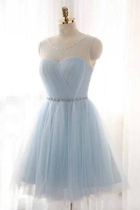 Scoop Neck Light Blue Homecoming Dresses Tulle Women party Dresses