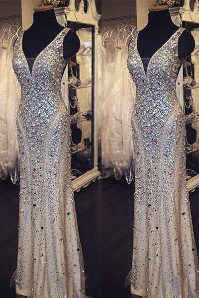 Gorgeous Sheath Crystals Women Prom Dresses Deep V-neck Party Dresses