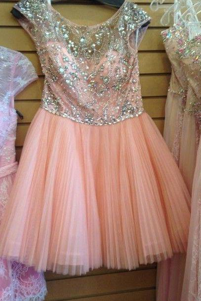 Short Pink Tulle Homecoming Dresses with Crystals Custom Made Party Dresses