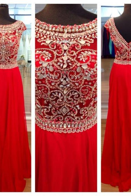 Scoop neck Long Red Chiffon Prom Dresses with Crystals Floor Length Party Dresses