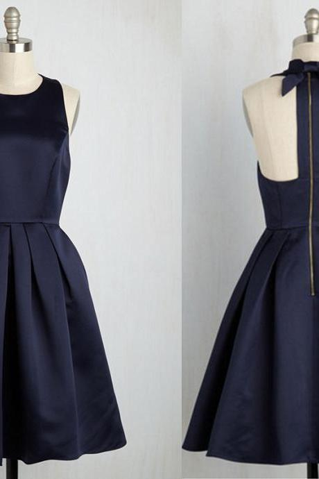 O-neck Navy Blue Satin Homecoming Dresses Above Knee Mini Dress