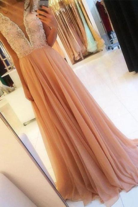 Charming Long chiffon Prom Dresses with Crystals Women Party Dresses