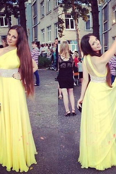 One Shoulder Yellow Chiffon Prom Dresses with Crystals Women party Dresses