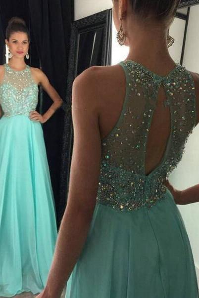 Charming Long Chiffon Prom Dresses with Crystals Women Dresses