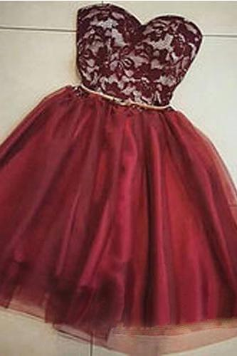 Mini Tulle Homecoming Dresses Sweetheart Neck Lace Short Lady Dresses