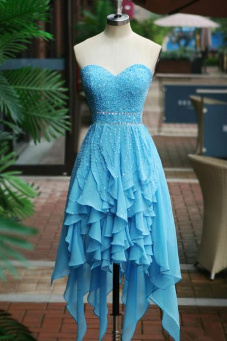 Light Blue Chiffon Homecoming Dresses Sweetheart Crystals Women Dresses