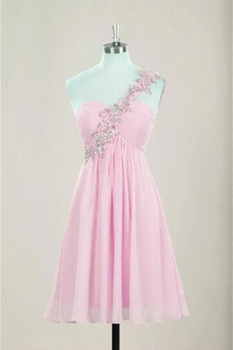 Light Pink Chiffon Homecoming Dresses Crystals Women Dresses