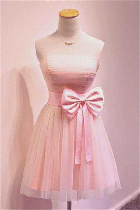 Short Tulle Homecoming Dresses with Bow Tie