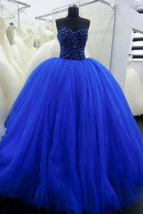 Sweetheart Neck Blue Ball Gown Tulle Prom Dresses Crystals Women Party Dresses