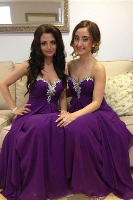 Purple Chiffon prom Dresses Crystals Sweetheart Neck Women Party Dresses